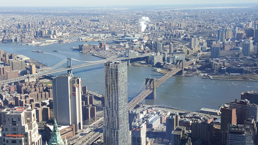 One World Observatory view over Brooklyn Bridge
