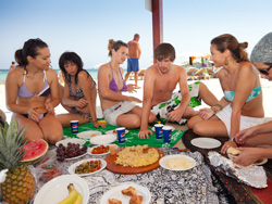 Eating at the beach in Ibiza
