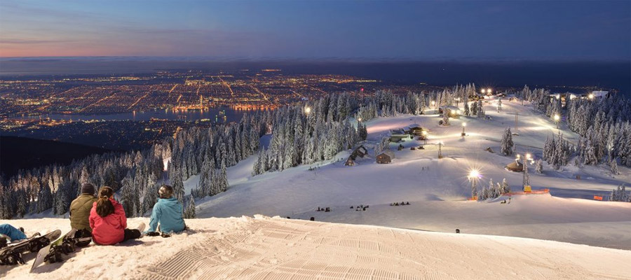 Skiing at night on Grouse Mountain, Vancouver