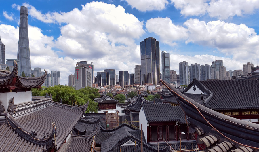 Old and New buildings in Shanghai