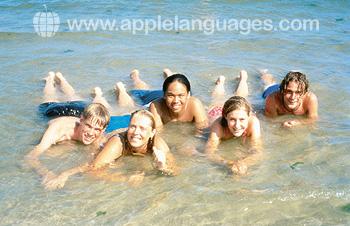 Students enjoying the beach