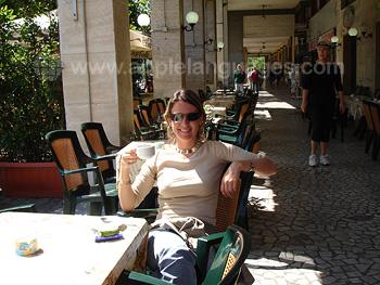 Enjoying Italian coffee