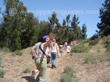 Students on hiking excursion