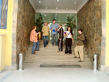 Students in the school entrance