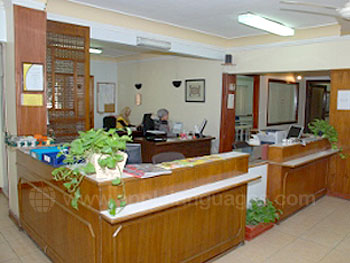 The school reception area