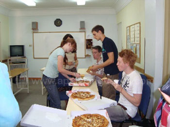 Enjoying pizza at lunchtime