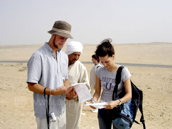 Students exploring the Pyramid site
