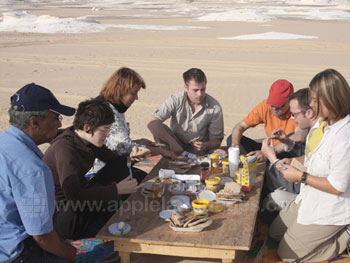 Eating lunch in the desert