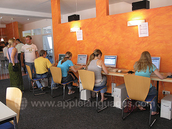 Students using the internet café