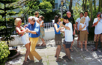 Samba dancing on school terrace