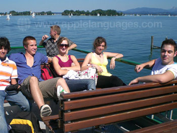 Students on boating excursion