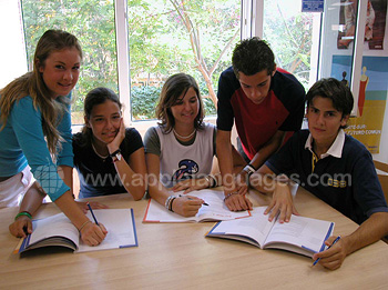 Students learning Spanish at our school
