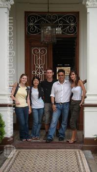 Students in school entrance