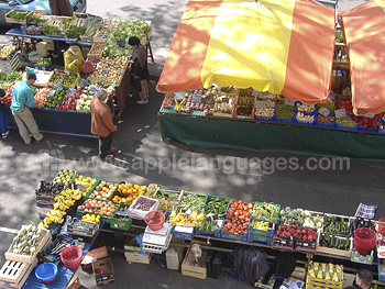 Colourful market near the school