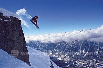 Snowboarding above Chamonix