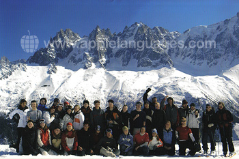 Students on French and Skiing course