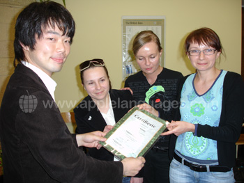 Student receiving certificate