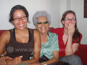 Students with Cuban host mother