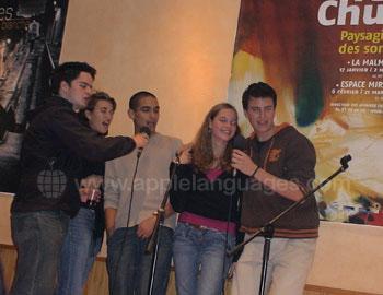 Students singing Karaoke