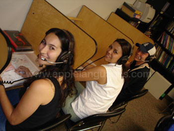 Students using the resource center