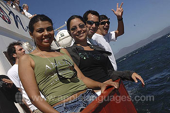 Enjoying a boat trip in the sunshine