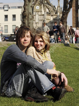 Students relaxing in the centre of Chichester