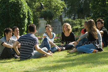 Students relaxing in the park
