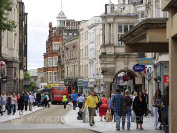 The main shopping street in Exeter