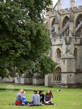 Students relaxing in the Cathedral grounds