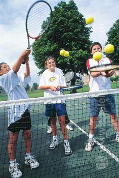 Enjoying a game of tennis