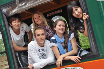 Students on a Trolley Tour