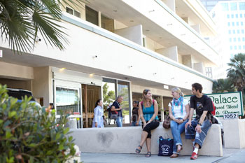 Students outside accommodation