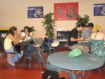 The student lounge at break time