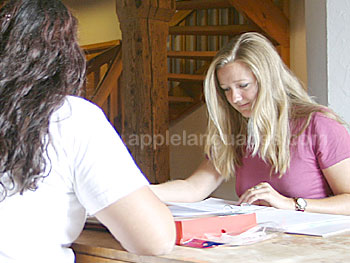 Students studying in Guest House