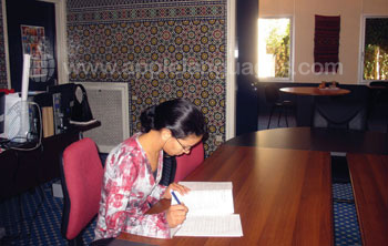 Student studying inside the school