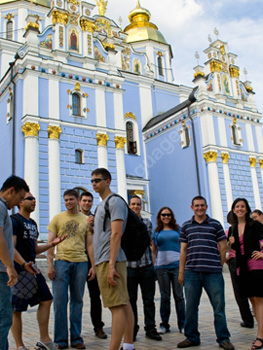 Students outside the St. Sophia Cathedral