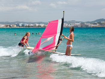 Students windsurfing
