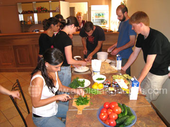 Students preparing a tradtional Russian meal