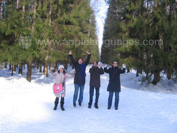 Students on excursion in wintertime