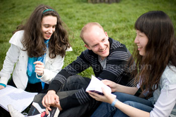 Students relaxing in the garden