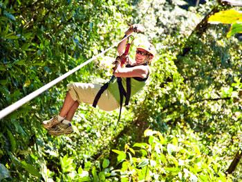 Student on a zipline