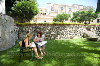 Students studying in the garden