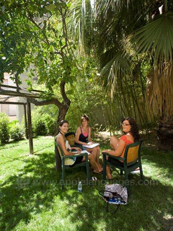 Students relaxing in the garden