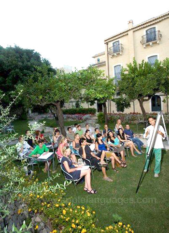 Italian class in the garden