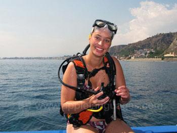 Student preparing to scuba dive