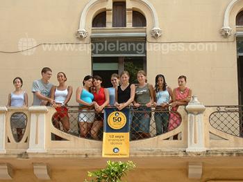 Students on school balcony