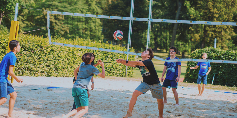 Playing volleyball in the sun