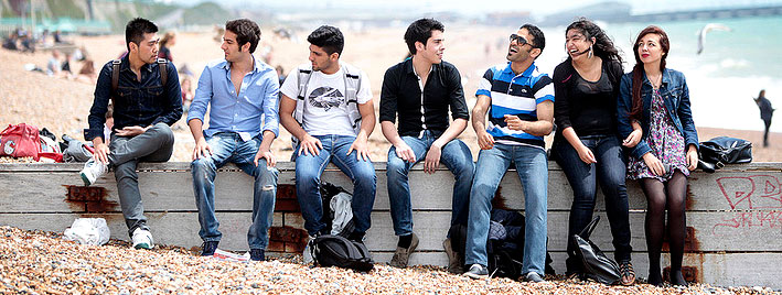 Students on Brighton beach