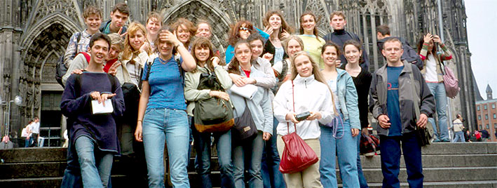 Students outside Cologne Cathedral