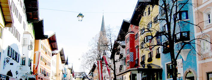 Colourful Kitzbuhel town centre